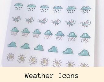 Weather Sticker | Planner Stickers | Icon Stickers | Weather Icons | Weekly Stickers | Erin Condren | Happy Planner | Bullet Journal | CS27b