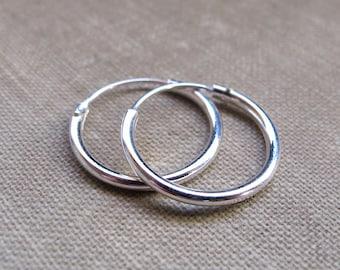 Tube Hoop Earrings 15mm - Sterling Silver Hoops - 2mm Tube Round Endless Earrings - Unisex jewelry / Everyday Earrings / Fashion Jewelry