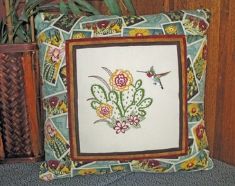 Hummingbird and Flowering Cactus  Embroidered Decorative Pillow Cover 16 inch
