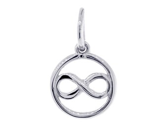 Mini Infinity and Circle Charm in 14K White Gold