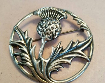 Vintage Sterling Silver Circular Thistle Pin or Brooch Jewelry Accessories