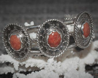 Apple Coral Sterling Silver 3 Concho Cuff Bracelet by Susan