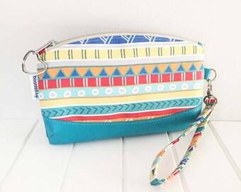 Wristlet Pouch, Zippered Pouch, Wristlet w/Strap, Faux Leather & Fabric Wristlet, Handmade Wristlet, Striped Fabric, Clematis Wristlet