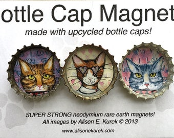 Funny Tiger Cat Magnets - Tabby Cat Magnets - Cat Art - Bottle Cap Magnets - Packaged Gift Set of 3 - Cat Gift - Gift for Cat Lover
