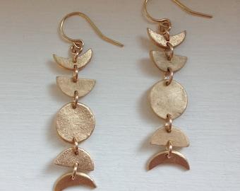 Mini Moon Phase Earrings in Bronze