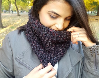 The Peppercorn Cowl | Seed Stitch Cowl | Textured Cowl | Chunky Cowl | Knit Neck warmer | Black Knitted Cowl | Winter Scarf