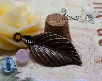Set of 8 QZW131 bronze pendant, leaves, plant
