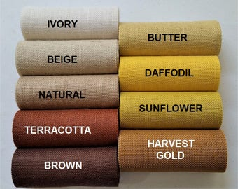 12 inch Burlap Runner - Yellow - Brown - Butter - Ivory - Beige - Natural - Harvest Gold - Sunflower - Daffodil