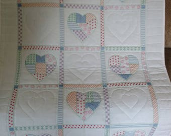 Hand Quilted Lap Quilt, Hand Quilted Wall Hanging, Toddler Girl Quilt