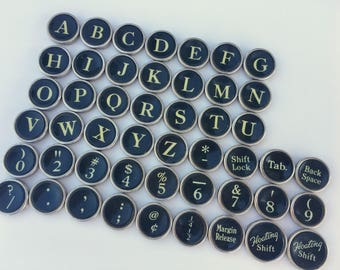 Your Choice Antique Typewriter Keys Jewelry Supplies Smith Corona Flat Back Black