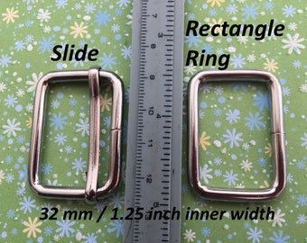 5 Sets Adjustable Strap Kit with slide and rectangle ring - 1.25 Inch / 32mm Width in Nickel finish