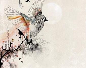 Watercolors paintings Original drawing, Whimsical flying bird art print, Pen and ink