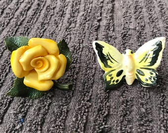 Antique 1930's curtain Tie Backs/Curtain Pins/Butterfly and Flower
