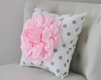 Baby Pink Dahlia Flower on White and Gray Polka Dot Pillow Accent Pillow Throw Pillow Toss Pillow Decorative Pillow Light Pink Pillow