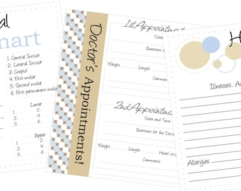 Doctor Visit, Medical Info, Dental Chart page pack for baby book