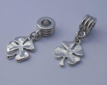Pendant-leaf clover four Pr bracelet Charms 30x14mm