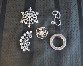 Lot of 5 Silver Toned pins