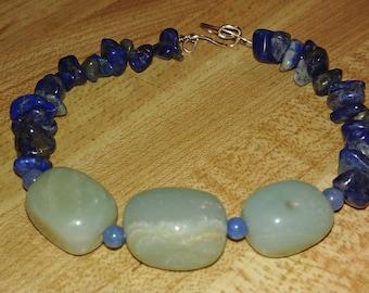 Lapis Lazuli ~ Amazonite ~ Beaded wire bracelet
