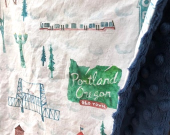 PORTLAND baby blanket - Oregon toddler minky security blankie - OR keepsake - Ore. small blanky, woobie, lovie - 18 by 16 inch