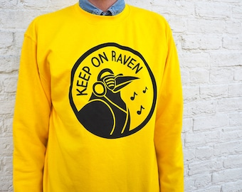 Keep On Raven Sweater, Yellow Raver Jumper, 90's Sweater, Men's Jumper, Funny Pun Sweater, Raving Clothes, Bird Sweater, Music Jumper, Dance