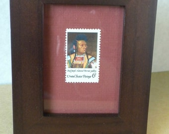 Framed picture of American Indian Chief Joseph, framed US 6 cent, vintage mint postage stamp, framed art, historical gift, collectible stamp