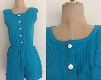 1980's Turquoise Blue Cotton Poly Romper Size Small Medium by Maeberry Vintage