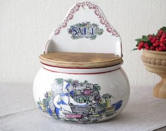 Vintage Salt Jar with Wooden Lid, Aksini Danmark, Danish Illustrated Box Wall Pocket Kitchen Scene @124