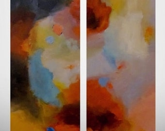 """Large ABSTRACT Original Painting - Diptych Art Contemporary Art Diptych Painting Modern Abstract 2 Canvas Art Abstract Painting 24""""x48"""" CES"""
