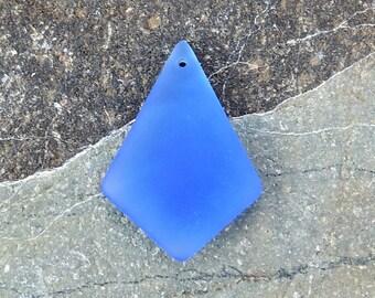 Cultured Sea Glass diamond pendant light sapphire,  37x27mm