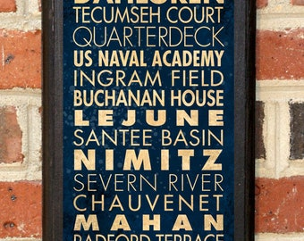 US Navy Midshipmen Points of Interest Wall Art Sign Plaque Gift Present Home Decor Vintage Style USNA Sailor Naval Academy Football Classic