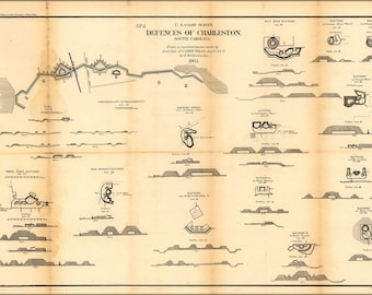 Poster, Many Sizes Available; Map Defenses Of Charleston, South Carolina 1865