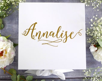 Personalised Bridesmaid Box - Maid of Honour Gift Box - White Keepsake Box - Large Bridesmaid Proposal Box - Custom Flower Girl Gift Box