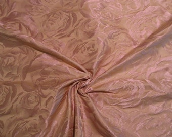 Mauve and Beige Rose Pattern Silk Blend Imported Taffeta Brocade Fabric--One Yard