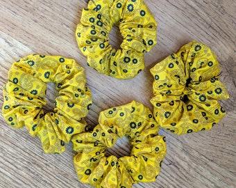 Scrunchies - Sunshine Yellow Paisley
