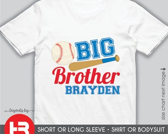 Baseball Big Brother Shirt or Bodysuit • Personalized Big Brother Shirt • Baseball Shirt • Baseball Big Brother Birthday Shirt