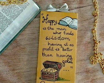 Jw golden wall plaque Hand painted with the scripture of Proverbs 3:14