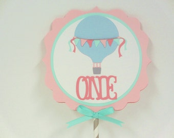 Hot Air Balloon Birthday Party Shower Smash Cake Topper Pink Aqua Turquoise Blue