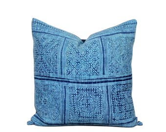 Blue Hmong Pillow - Hemp Cushion - Indigo Pillow Cover - Bohemian Style - Organic Hemp - Vintage Indigo Decor - 20x20 Inch Batik Pillow