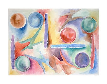 Watercolor Painting- 11x15- Abstract Watercolor- Overcoming-  Circles- Primary Colors- Gymnasts, Dancers