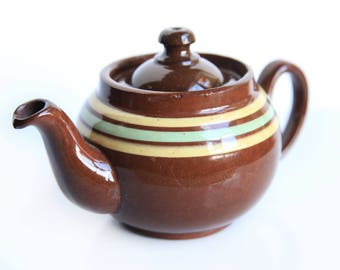 Vintage ALB Single Serve Brown Betty Teapot Made in England ~ English Tea Party ~ Rustic Cottage Farmhouse Decor Alcock, Lindley and Bloore