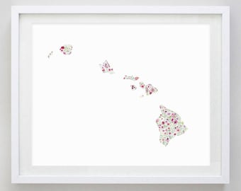 Hawaii Floral Watercolor Art Print - Any State Available