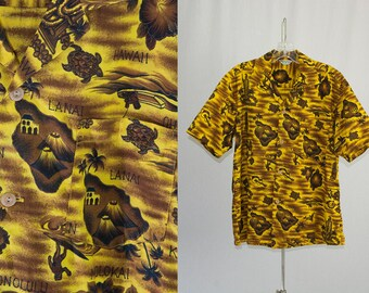 Vintage 1960s Hawaiian Shirt Goldenrod Yellow Island Surfer Print Hookano