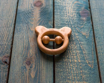 Teether, Organic wooden teether | Wooden rattle | Wooden toy | Baby toy