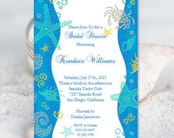 Beach Bridal Shower Invitations Wedding Shower Invitation Template Beach Theme Bridal Shower Invitation Templates DIY You Print