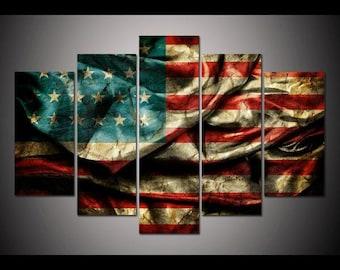 5 Panel Vintage American Flag Wall Art, US Flag Art, American Flag Decor, Usa Flag Canvas, Large Canvas, Usa Print, American Flag Poster