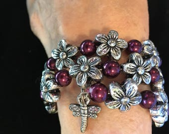 3 Loop Wraparound Bracelet in Purple and Silver