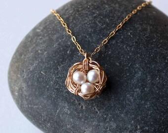 Bird Nest Gold Necklace Mother of 3 Gift Garden Lover Hamming Bird Egg - Delicate Simple Modern Minimalist Jewelry - HAMMING by 5050 Studio