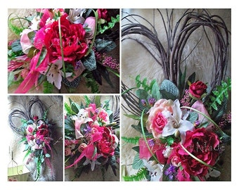 Floral Wreath, Chic Heart Valentine's Mom's Silk Flowers~Wispy Heart Shaped Wreath~Romantic Wedding Bouquet~Front Door Wreath~Fuchsia Peach