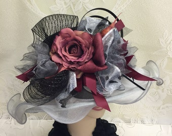 Black and Grey Derby Wide Brim Floppy Hat with Burgundy Flowers