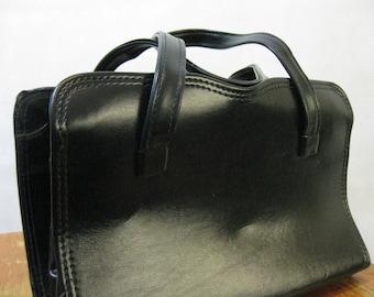 60s Black Leather Purse, Vintage Genuine Leather Structured Pocket Book Handbag